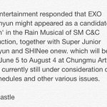 [INFO/TRANS] 140416 Baekhyun to be considered as one of the performers for Singin in the Rain http://t.co/3C097aWjaR http://t.co/lys597fLZl