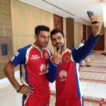 The #Selfie fever is on in Dubai! Heres @imVkohli and @YUVSTRONG12!! #RCB #RCBLive #IPL7 #UAE #SeizeTheDay http://t.co/glVLFn2nuX