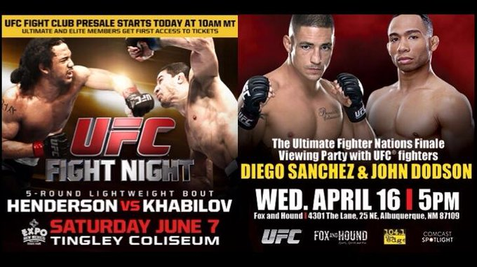 Who got their tix to #UFCFightNight? In ABQ? Go to Fox & Hound @ 5pm & meet @DiegoSanchezUFC & @JohnDodsonMMA! http://t.co/CDv62RriQo