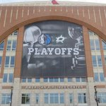 Its playoff time in Dallas. Giant banner up at AAC for Mavs & Stars. (via @insideaacenter) http://t.co/jjF46XvyNI
