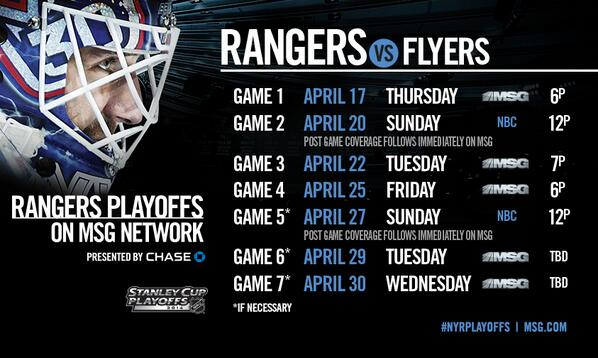 RETWEET & FAVORITE if you're ready for @NYRangers Playoffs! Here's the Round 1 MSG Network schedule. #NYRPlayoffs http://t.co/SruDmMOwjo
