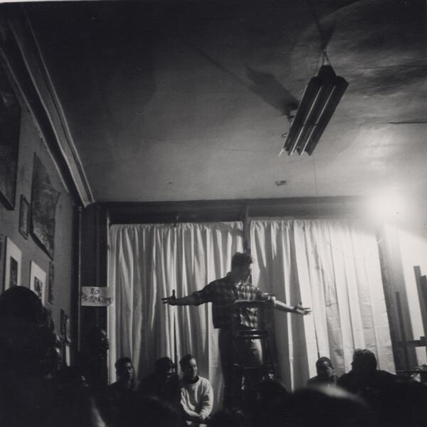 Jack Kerouac reading a passage from On The Road New York, February 15, 1959, photo taken by Fred W. McDarrah http://t.co/b2oLsRwenM