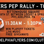 Have lunch plans? Flyers Pep Rally 11:30am-1:30pm in Center City - Free giveaways, live music, & WIN playoff tickets! http://t.co/iyJKFI8mjE