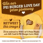 RT @PEIBurgerLove: RT-to-Win 1 of 5 #PEIBurgerLove Day Packs which includes 1 gift card & 1 shirt. Contest closes Midnight April 16th. http://t.co/Ku0WU3u9D1