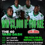 Marshall students, @ManiacsMU bring the speed tomorrow. I want the winners to make it interesting on the 26th... http://t.co/L1Jts31fnu