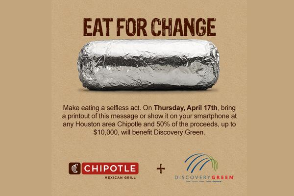 Spread the word! Eat at a Houston Chipotle on Thurs 4/17 and mention @DiscoveryGreen & 50% proceeds go to the park! http://t.co/4HZ77Gl5lW