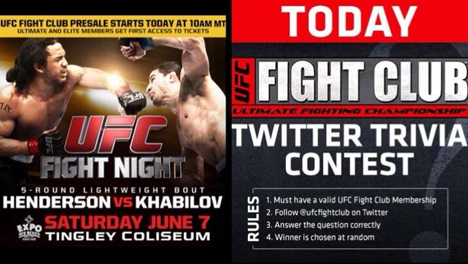 Keep an eye out for our first trivia Q for the #UFCFightNight FC presale! We only have 4 Qs so answer all of them! http://t.co/qbm3k6rcgd