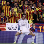 PICTURE OF THE DAY: Gareth Bale celebrates his winning goal in front of the Barcelona fans. http://t.co/7fTatTD0LG