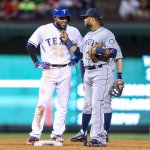 RT @Rangers: Caption this exchange between @ElvisandrusSS1 & @RobinsonCano. http://t.co/O1Gp9Bcqmi