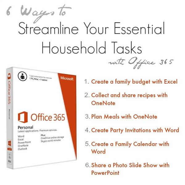 6 Ways to Streamline Your Essential Household Tasks with Office 365 – $50 #OfficeGiveaway http://t.co/c3lxtmKmlm http://t.co/VGdqx42eMg