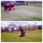 1st topdress of the year, followed by a roll/brush and h2o. Getting ready for Opening Mens day! #kamloops #golf http://t.co/68hhHBv7ll