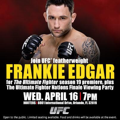 The #TUF19 Premiere is after the #TUFNations Finale on @FOXSports1! #TeamEdgar? Join him @ Hooters & watch w/ him! http://t.co/tmnWuN6Amb