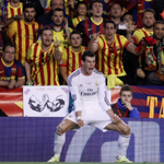 Photo of the day: Gareth Bale celebrates in front of the Barcelona fans. #RMCF http://t.co/sWpUtidZOc