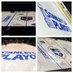 1st look @ playoff logos painted 2day @LAKings @STAPLESCenter great job by Ops crew #GoKingsGo http://t.co/5lEgvhlerU