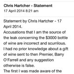 RT @SeanNic: Former energy minister Chris Hartcher denies he leaked details of the bottle of wine that brought down OFarrell http://t.co/bjBeqZj8dg