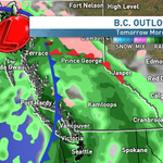 RT @JWagstaffe: Rain continues through most of tmrrw for another 20-40mm. Higher amounts towards north #Vancouver http://t.co/zBJV6UeQec