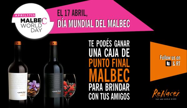 Celebramos el #MalbecWorldDay como a vos te gusta. Follow & RT y te podés ganar una caja de #PuntoFinal #Malbec http://t.co/SPawUNyCQT