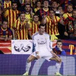 2:1 Real Madrid vs Barcelona.Hilarious picture of Gareth Bale in front of Barcelona fans,celebrating his winning goal http://t.co/f2mt03jE9K