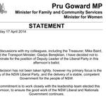 Heres the statement from Pru Goward announcing she will not contest for deputy leadership of NSW Liberals #nswpol http://t.co/0RvbdPjaur