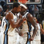 .@MacBo50 celebrates with @aa000G9 as the Grizzlies take a one point lead with 1.1 remaining in OT against the Mavs. http://t.co/qwXiCAaTGR