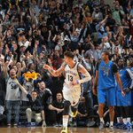 .@memgrizz fans celebrate with @MikeMiller_13 after his 3pt basket over Brandan Wright http://t.co/D17LAqeO7W