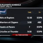 """@ESPNNBA: The first round playoff schedules are set. Heres whats coming up this weekend. http://t.co/8jfEWCb4lT"" Raps game on ESPN!!!!!"