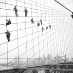Workers on the Brooklyn Bridge Cables | #NYC #NY http://t.co/h1QxK5ETSh
