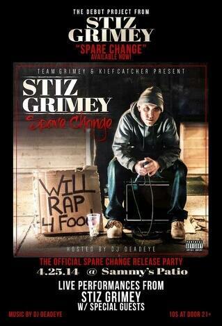 #tonight Sammys Patio - Spare Change release party! Music by @DeadeyeSTdot Ft @StizGrimey & more! http://t.co/0OC8hpy3U7