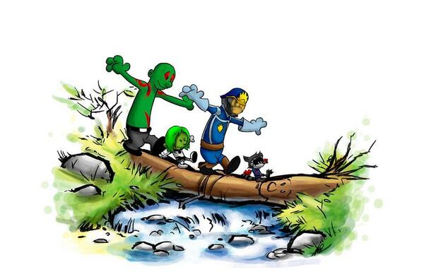 ADORABLY AMAZING ALERT! Calvin & Hobbes & Rocket & Drax & Gamora & Peter & Groot. By Matthew Waite. http://t.co/o13CUCiygK