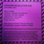 RT @zoehitchen: @jennyminard @fash_rev #fashionrevolutionday #flashmob #oxfordcircus #london #insideout MEET 4.30PM @LCFLondon http://t.co/xXpqF3Sygq