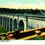 High Bridge Aqueduct Crossing the Harlem River, High Tower in Back, 1910 (PC)| #NYC #NY http://t.co/AKqije6gFi
