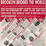 RT @BAM_Brooklyn: Discover the world that is Brooklyn ...in 1987! Brooklyn Bridges the World! #tbt #ThrowbackThursday http://t.co/Yl0PO3HMqS