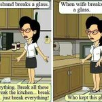 What happens when u break a glass and when your wife does... ;-) #Fact http://t.co/qXkyB20tHR