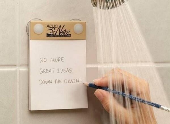Говорят, лучшие идеи посещают людей в душе. Чтобы они там и не остались, есть водоотталкивающий блокнот Аquanotes. http://t.co/ujgz8fO11i