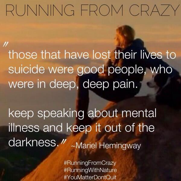 Mental health... Such an important topic. Proud of you @MarielHemingway #mentalhealth #suicide Good people get sick. http://t.co/AckprPopGd