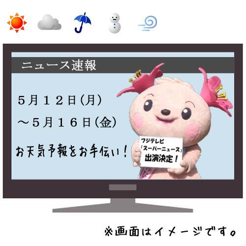 【おしらせ】  5月12日(月)~16日(金)の5日間!フジテレビで夕方に放送している『スーパーニュース』のお天気予報をきみぴょんがおてつだいすることになったよおぉd(゚∀゚d)ぉお!!その週お天気になぁーれ♪ http://t.co/tB7QcOoegs