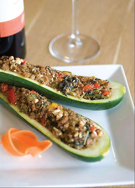 Roasted zucchini jam-packed with walnuts & vegetarian stuffing. Yes please! #PizzaFusion #Organic #Fresh http://t.co/gIRY5jKBB8