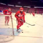 Practice just started here at The Joe, and Zetterberg is back on the ice! #RedWings http://t.co/QBUys7dVmU