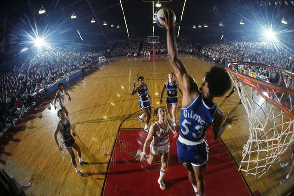 Want more ABA? Here's Artis Gilmore blocking Rick Barry during a 1971 game: http://t.co/NiyBia1rdH