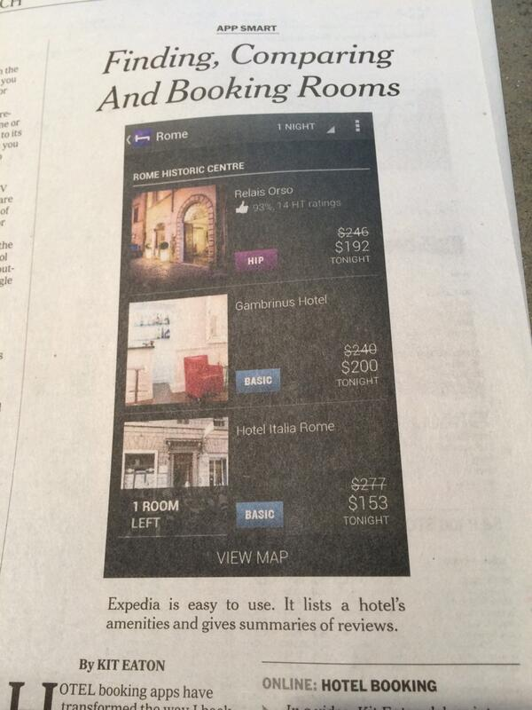 Congrats to @Expedia app on winning @nytimes review. In print edition, however, screenshot is @HotelTonight. Doh! http://t.co/ElQnQLxm95