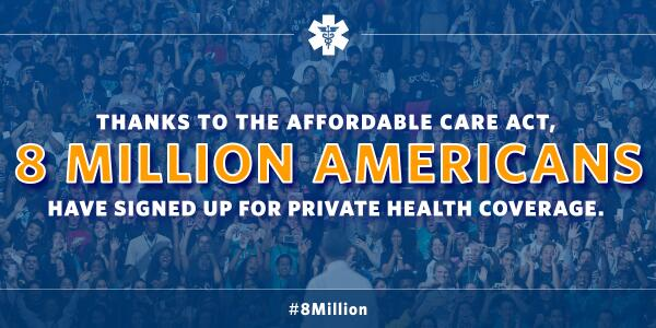 Great news: #8Million Americans have signed up for private health plans thanks to the #ACA http://t.co/seAuPloBka