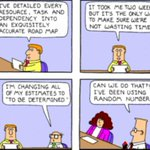 This makes me think of #NoEstimates and @WoodyZuill :-) - #Dilbert on estimates and project planning http://t.co/FYgfvLa8jl