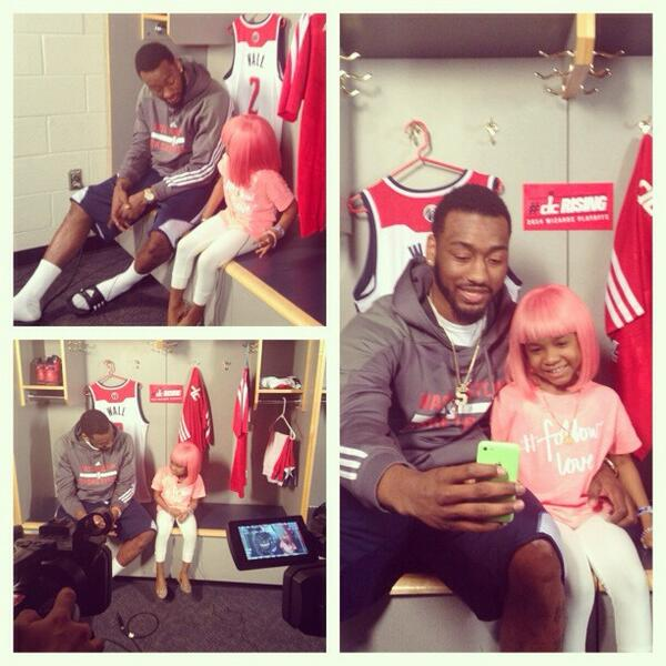 . @John_Wall chatting w/his buddy Miyah about meeting @NICKIMINAJ and getting her pink wig. @WashWizards #dcrising http://t.co/pZIvDKpxTr