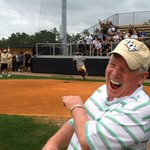 .@UCFKnights football coach reacts to  play at home plate during annual players vs. coaches softball game http://t.co/zaUjKpUEIo