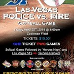 Mark your calendar for a great family event next Friday. Police vs. Fire followed by the @LasVegas51s. #Vegas http://t.co/M7dbsUQsDz