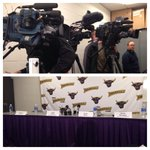 Media in position for MSU press conference http://t.co/b6v8Q5fWg2