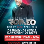 RT: @EatBeatRave Fri 25th April @RomeoLondon @PranjsBar_BS1 #CBB #SoSolid #OhNo 🎉🎵 info 📱07970423118 http://t.co/ks4FWrpPWA