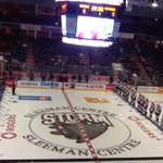 Both teams are lined up for player intros. #ERIEvsGUE http://t.co/Vd6ykIOgYS