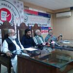 #MWM leader Nasir Sherazi, #JI Liaquat Baloch, #PTI Ijaz Chaudhry & #PAT leaders addressing the joint PC at #Lahore http://t.co/FSoIhfswbW""