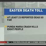At least 23 people have died on the roads so far as the #Easter continues #TrafficUpdates http://t.co/2mX3DvyNAp